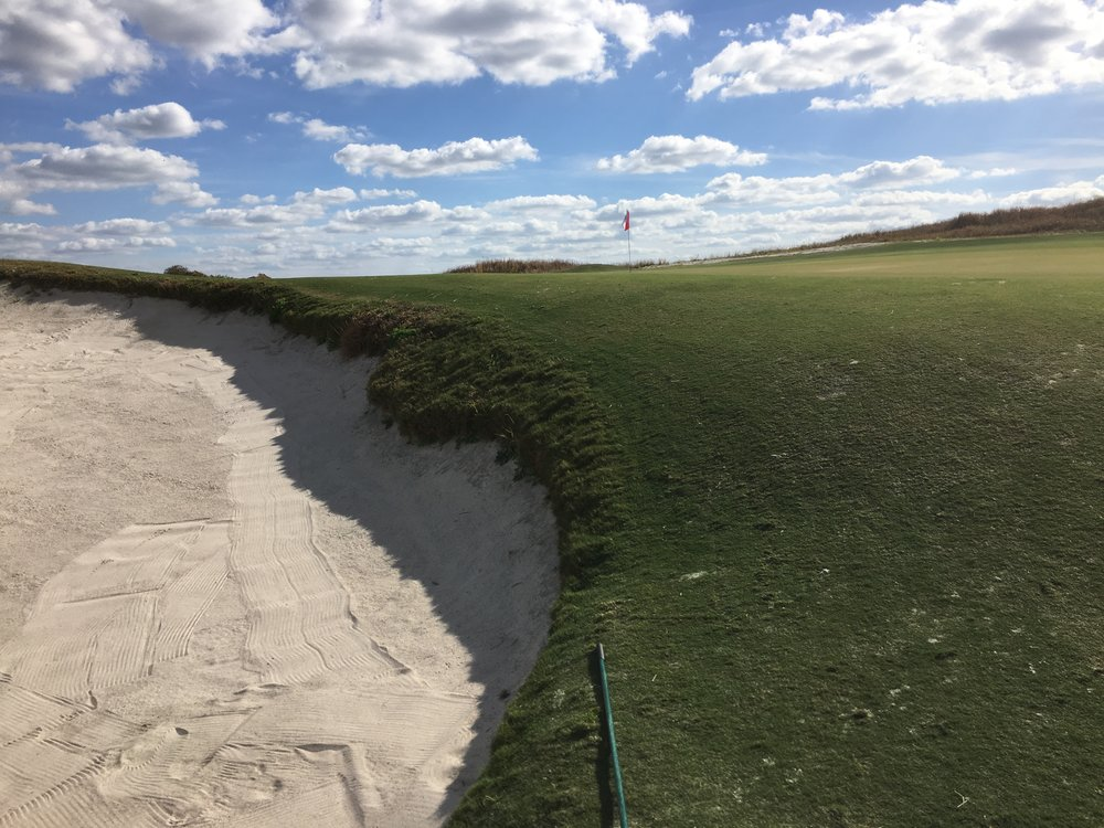 The massive and deep bunker on the 15th at Streamsong Red