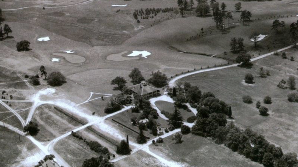 An aerial of the original 18th (left) and 9th (right) greens at Augusta National. Credit: Keith Cutten