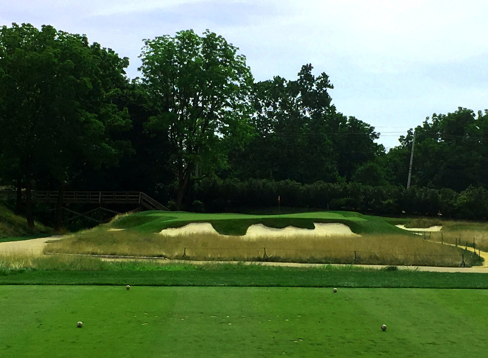 Meanwhile the 110 yard third hole at Philadelphia Cricket Club has a heavily bunkered green demanding a precise wedge shot.