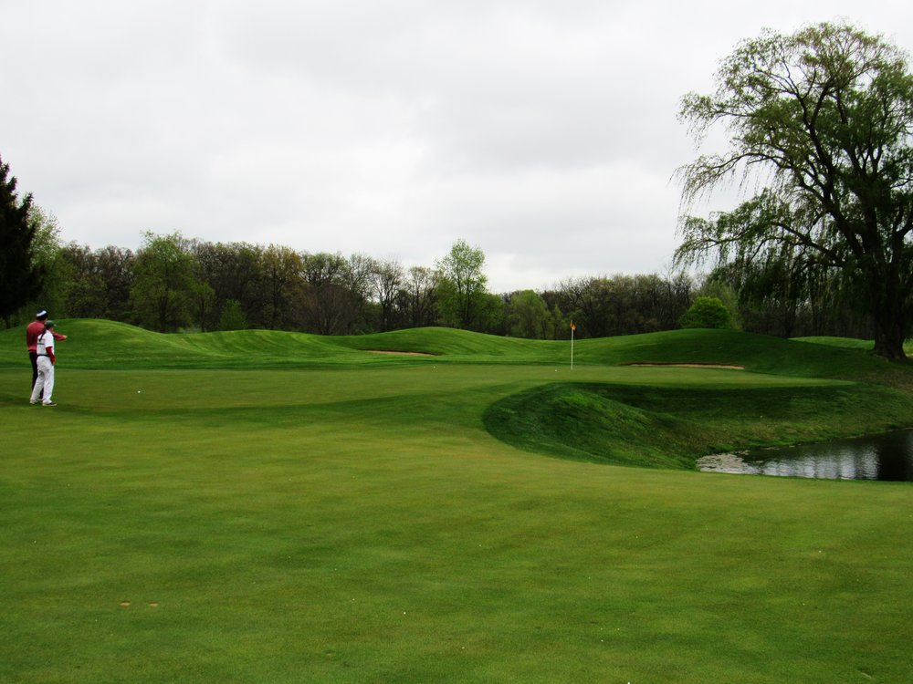 The narrow 17th green which calls for a long-iron approach.