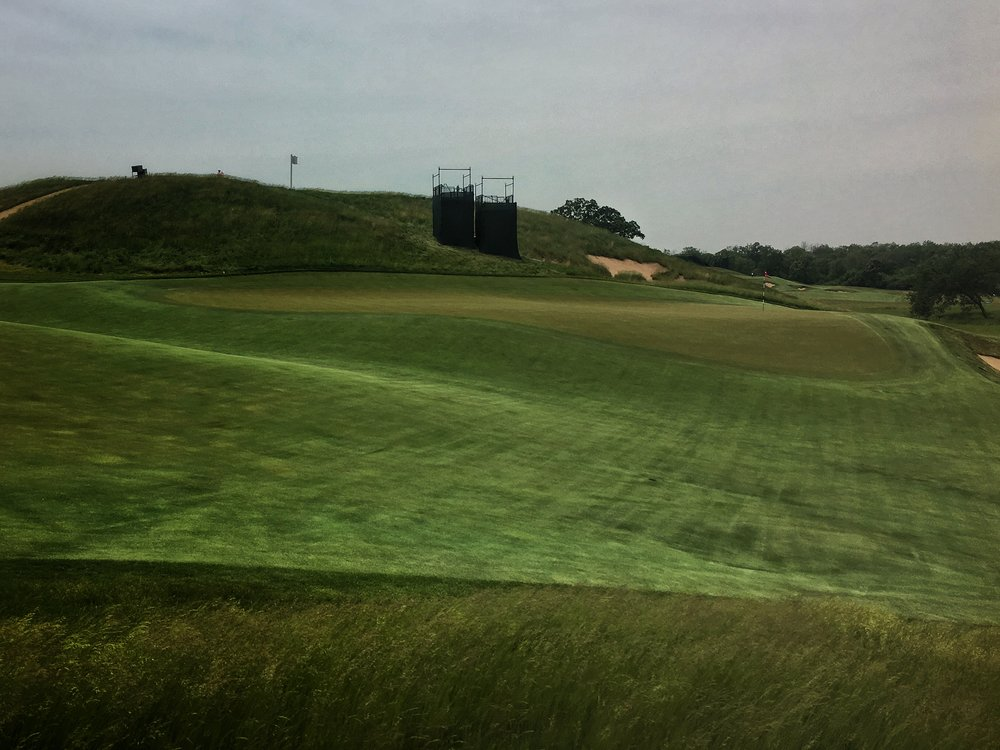 The par 5 14th green funnels shots towards the back right but also repels those too far right.