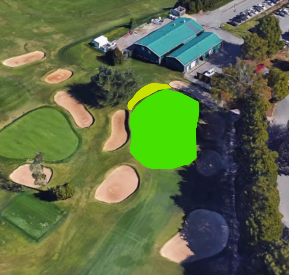 A closer representation to what the green size and bunker should be.