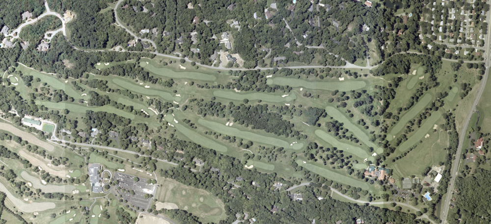 A 2000 aerial of Moraine shows the abundant amount of trees which littered the property.