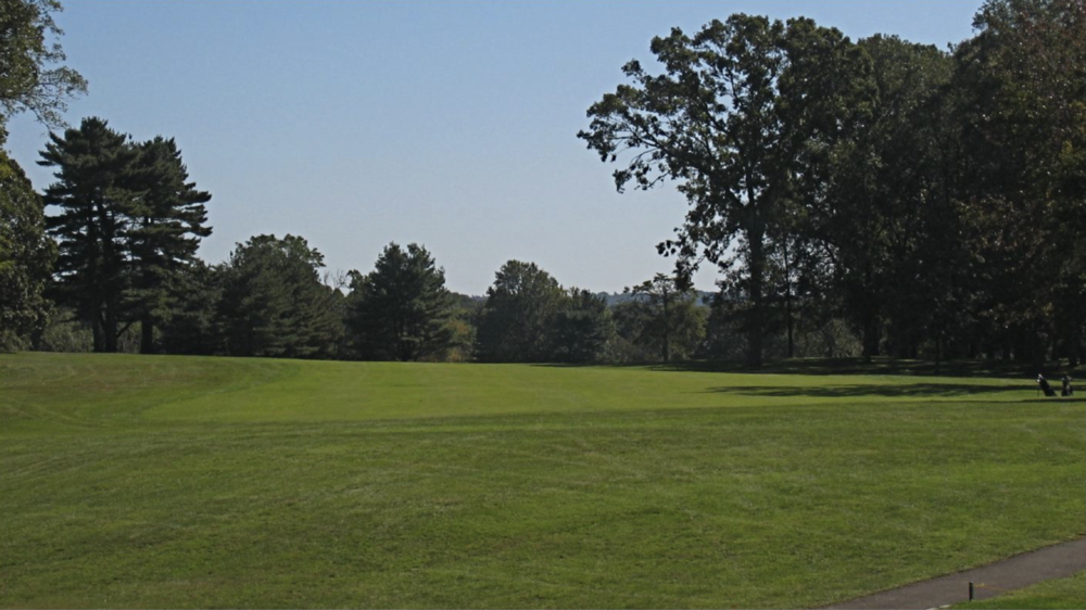 The blind tee shot at the 14th. Photo Credit: The Bausch Collection at  MyPhillyGolf.com