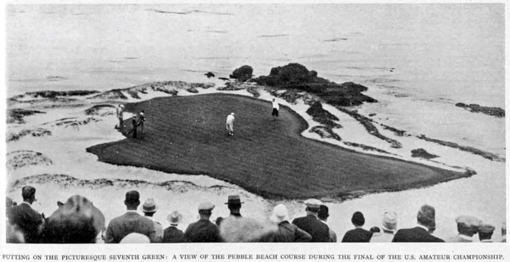 The 1929 version of Pebble Beach, pictured the 7th hole.