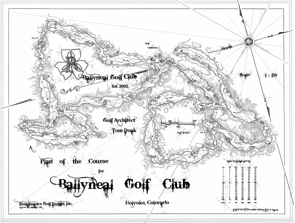 Don's routing map of Ballyneal Golf Club.