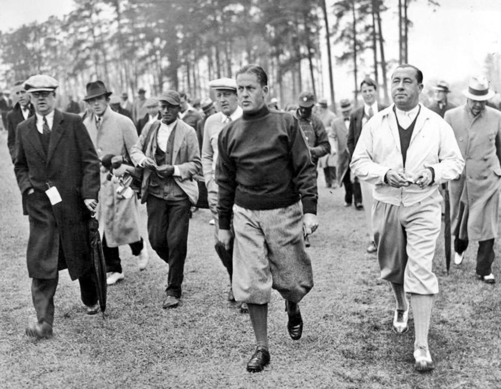 Bobby Jones (center) with Walter Hagan (right) playing the first (1934) Masters. Photo Credit: Simon Haines  @hainesy76