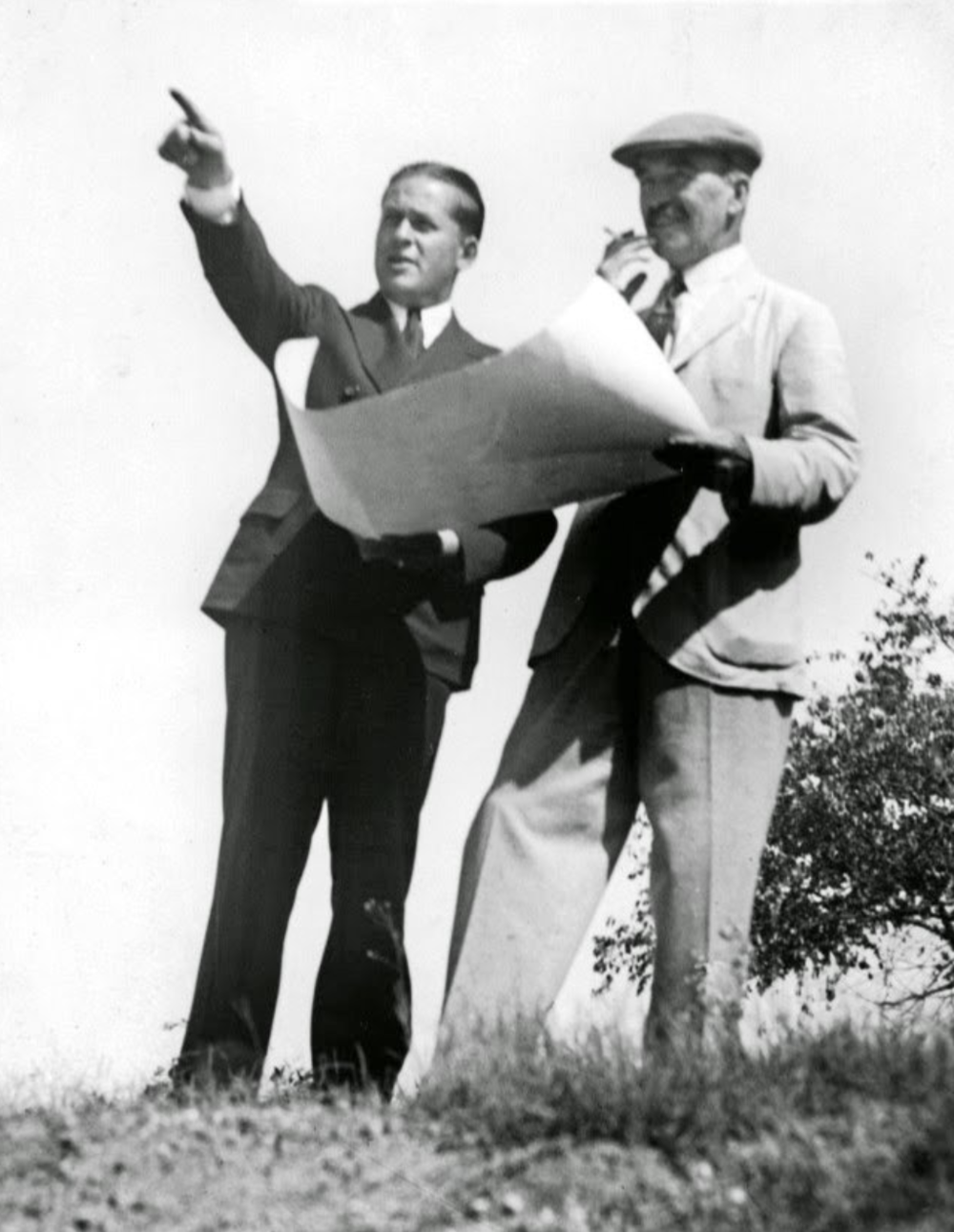 Alister MacKenzie and Bobby Jones at Augusta.