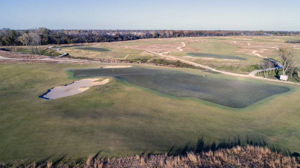 The double green at Trinity Forest. 11th (right) 3rd (left)