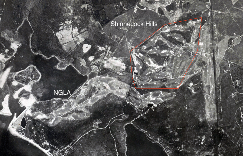 1930 Aerial of Shinnecock Hills Golf Club mid-construction and neighboring NGLA.