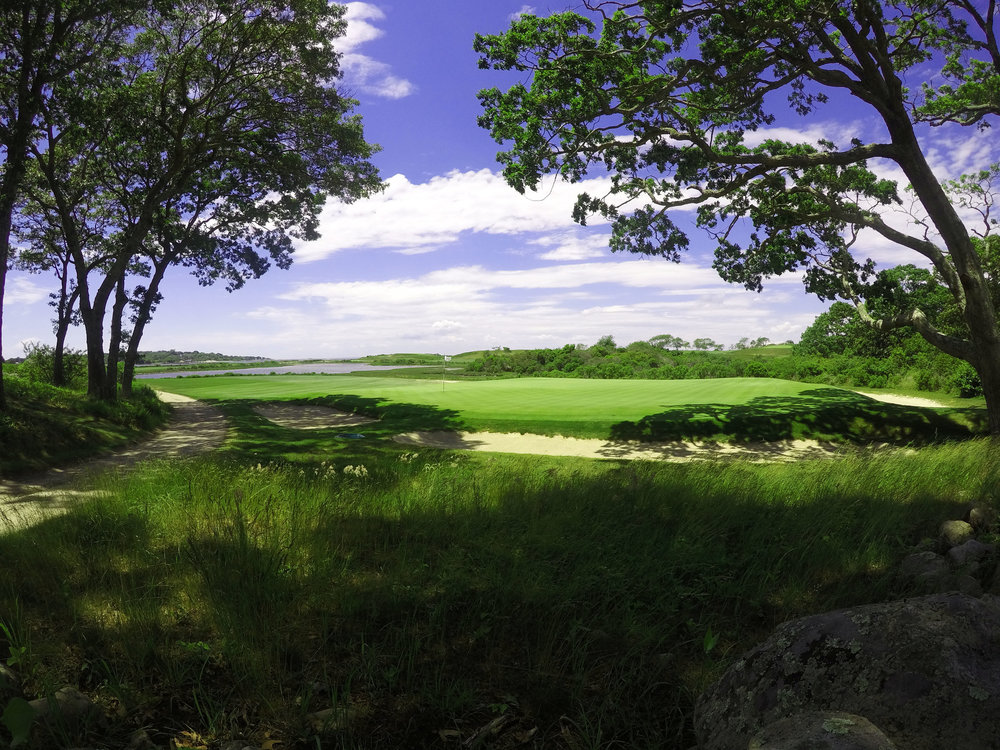Looking back at the cape green at Fishers Island Club