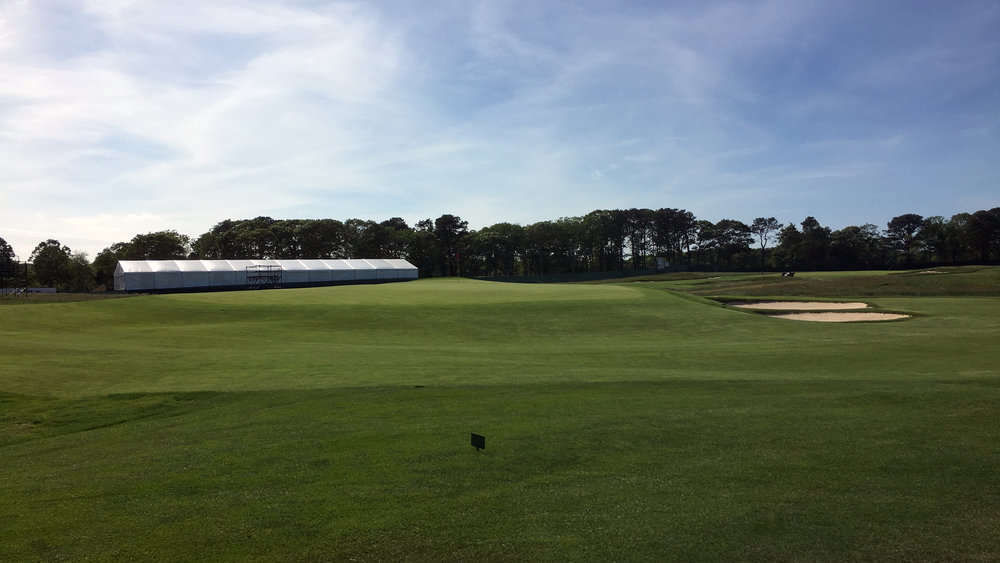 The 7th green from the 8th tee box.
