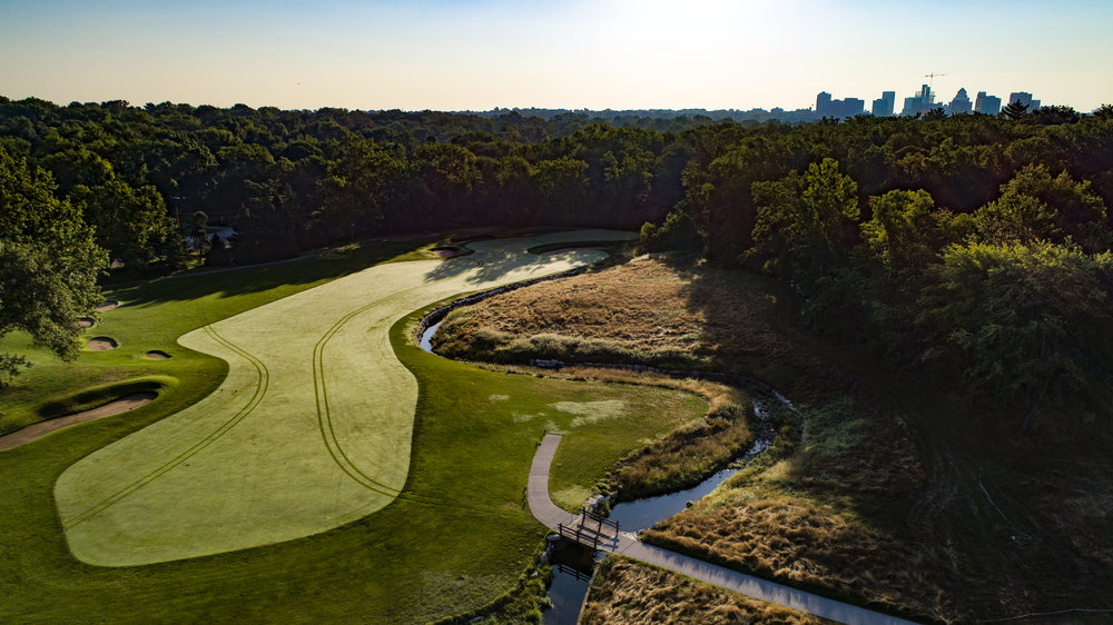 An aerial view of St. Louis' par 4 8th.