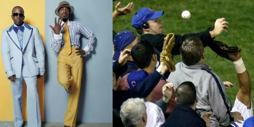 Two of the most memorable events of 2003, Outkast and Bartman.