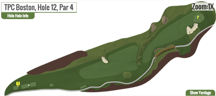 2018's 12th hole at TPC Boston without the centerline bunker.