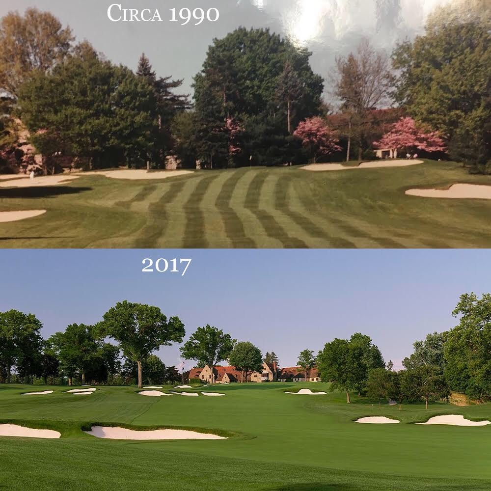 Aronimink's 9th before and after a Gil Hanse Restoration