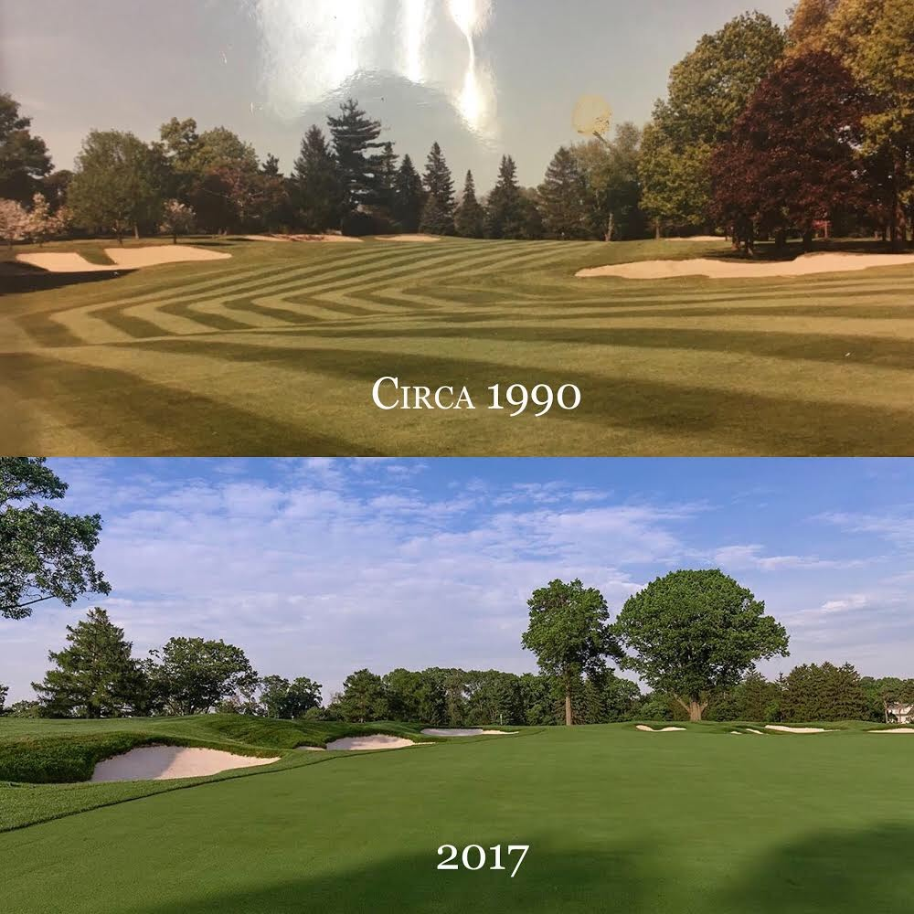 The 6th at Aronimink before and after a Gil Hanse restoration