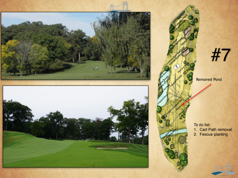 Before and after the restoration on the 7th hole.
