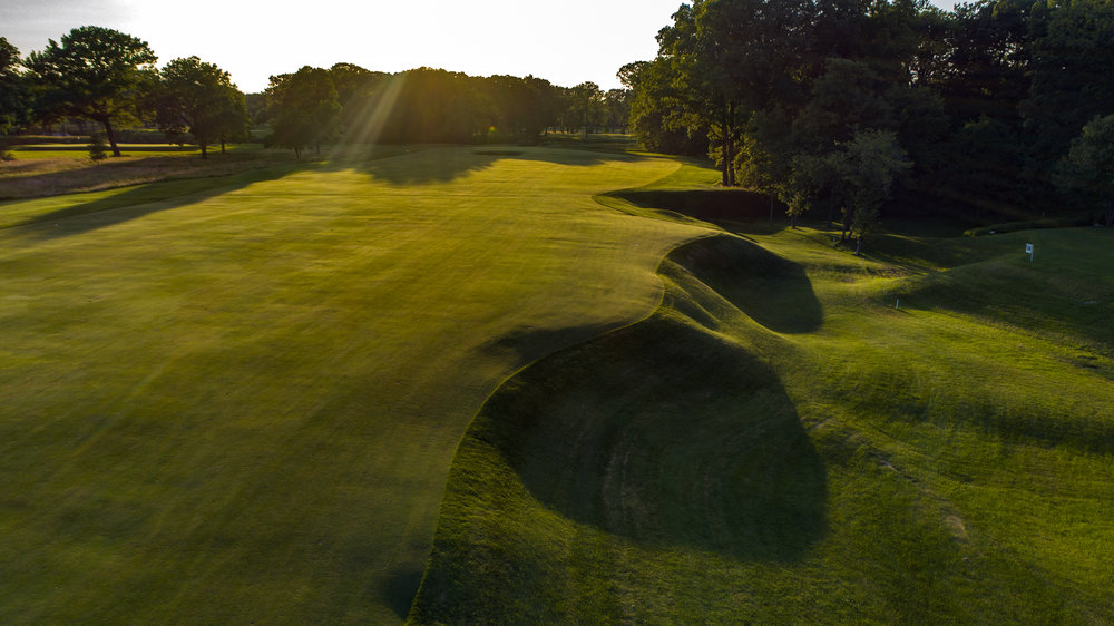 The ravine on the 10th at Shoreacres which protects the aggressive line to the green.