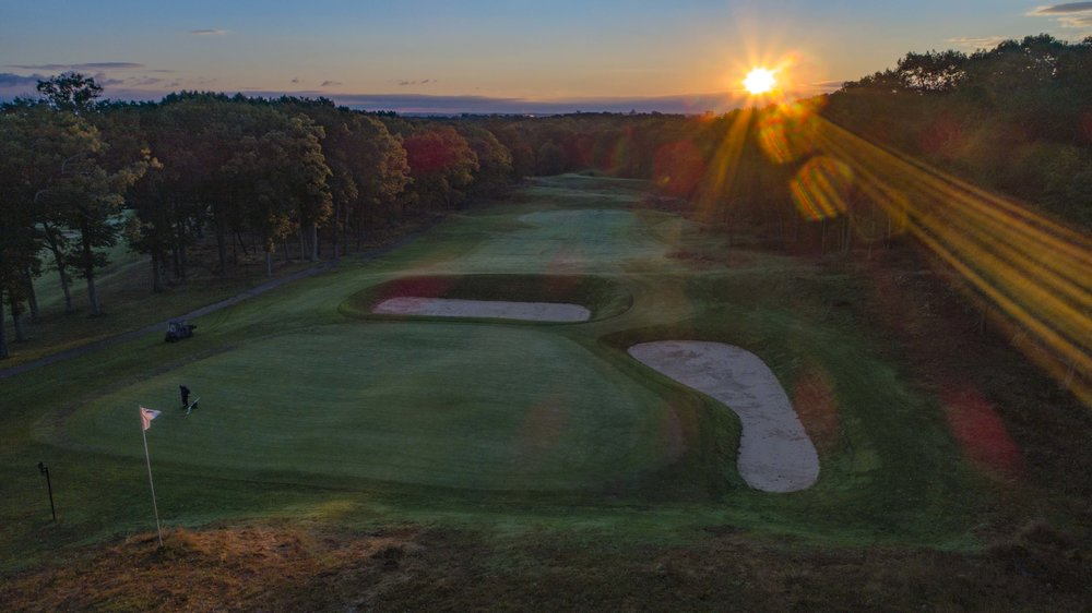 A look from behind Yale's 12th green at the deep sahara bunker.