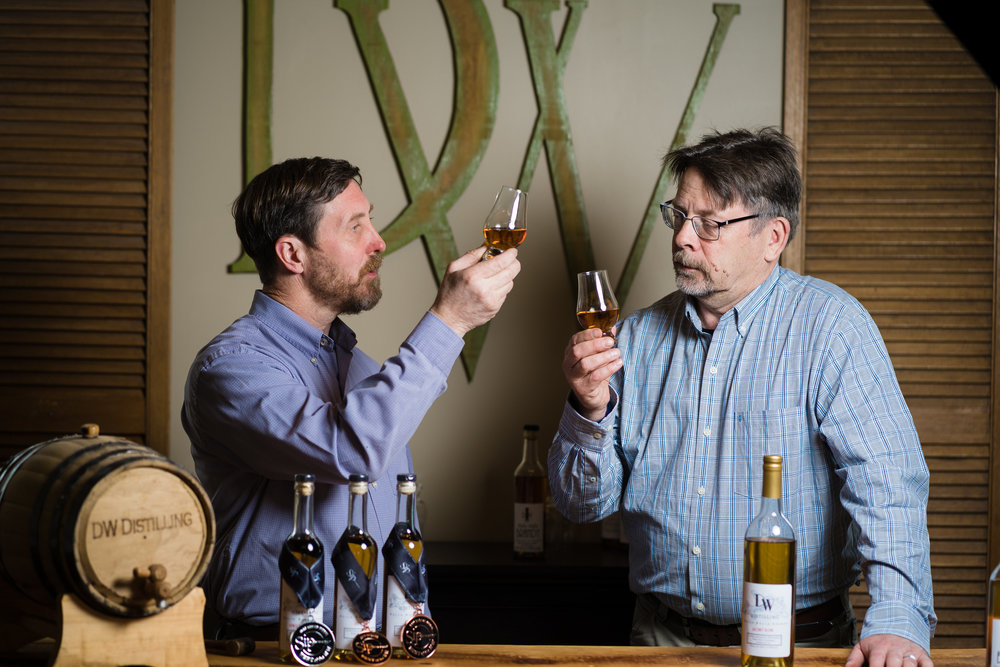 My D (right) and Mr. W (left) tasting some of their fine brandies.