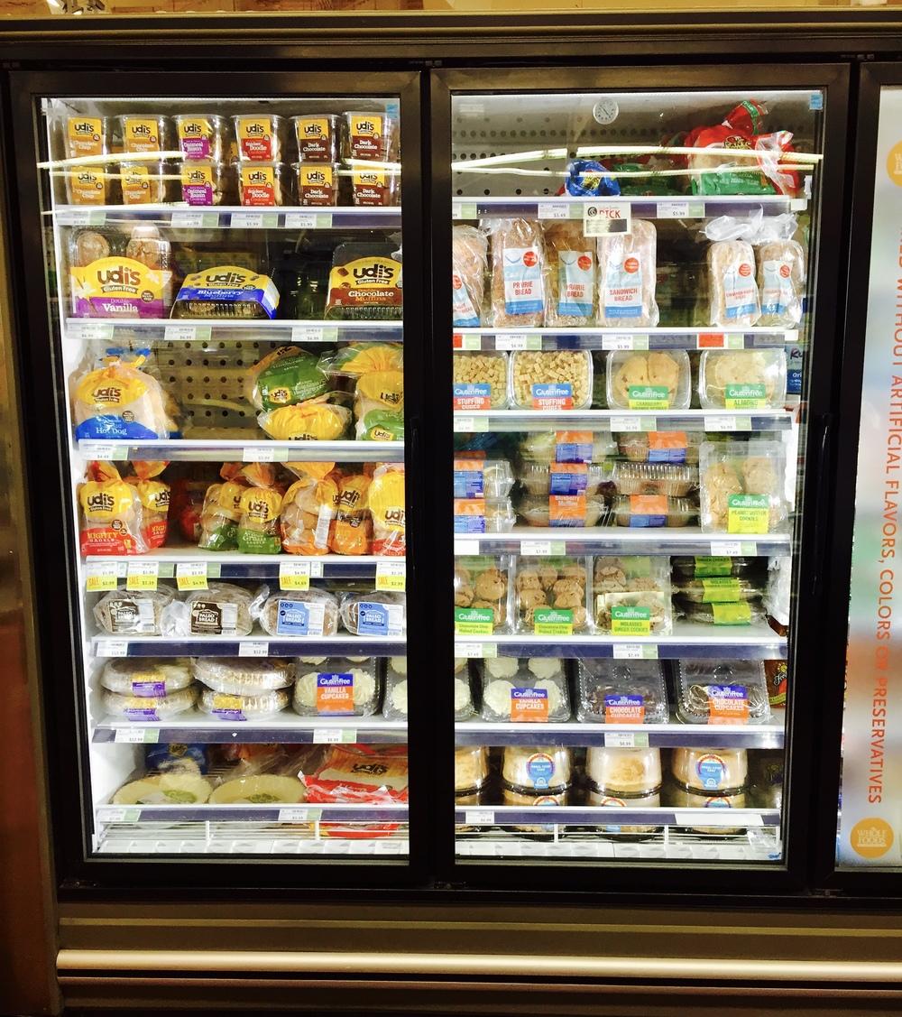 Šaldytų produktų be gliuteno pasirinkimas