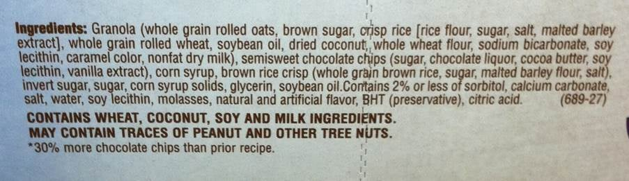 Ingredients list of a Granola bar.