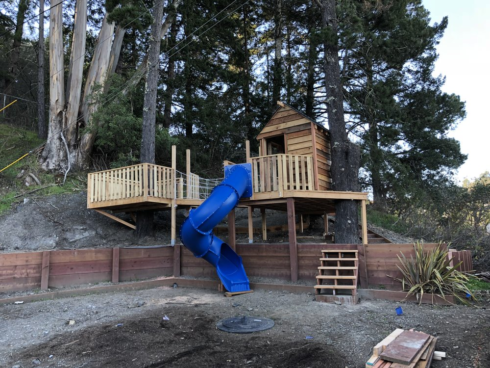 Treehouse in Marin, Mill Valley, Francisco's Gardening and Maintenance - 4 treehouse with slide build 4.jpeg