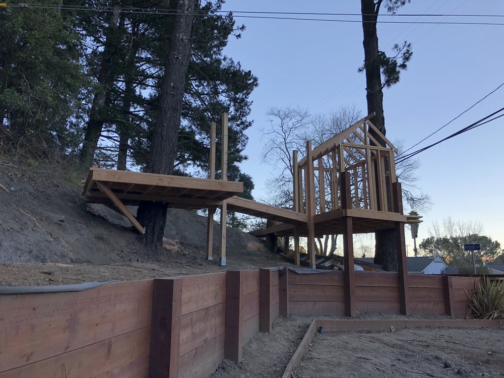 Treehouse in Marin, Mill Valley, Francisco's Gardening and Maintenance - 9 framing and bridge 2.jpeg