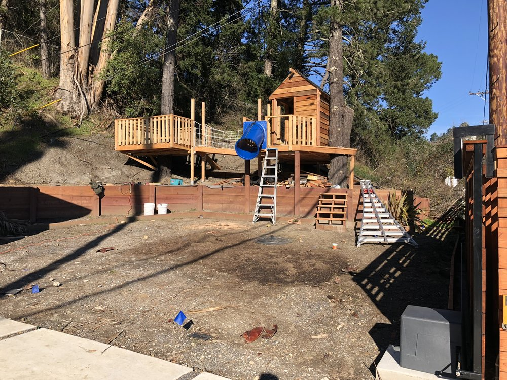 Treehouse in Marin, Mill Valley, Francisco's Gardening and Maintenance - 22 treehouse with slide build 2.jpeg