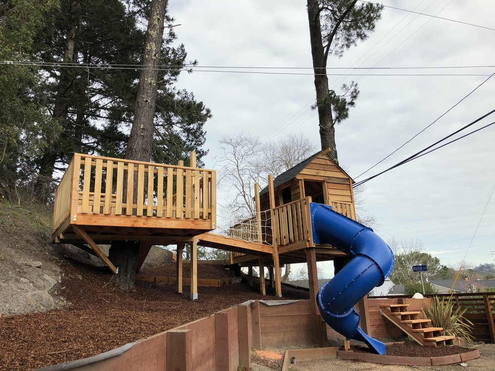 Treehouse in Marin, Mill Valley, Francisco's Gardening and Maintenance - 25 treehoude with slide and redwood bark.jpeg