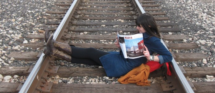 Associate Director, Lauren van Haaften-Schick catches up on her reading in Marfa, Texas. No better place to read on art and law, right?