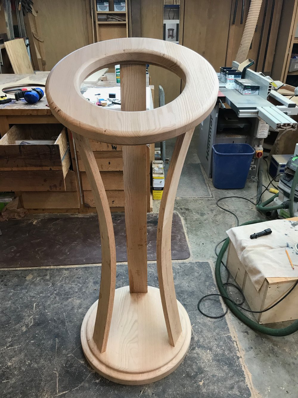 "The candelabrum in ""dry fit"" form, prior to final sanding and milling for the candle sockets."
