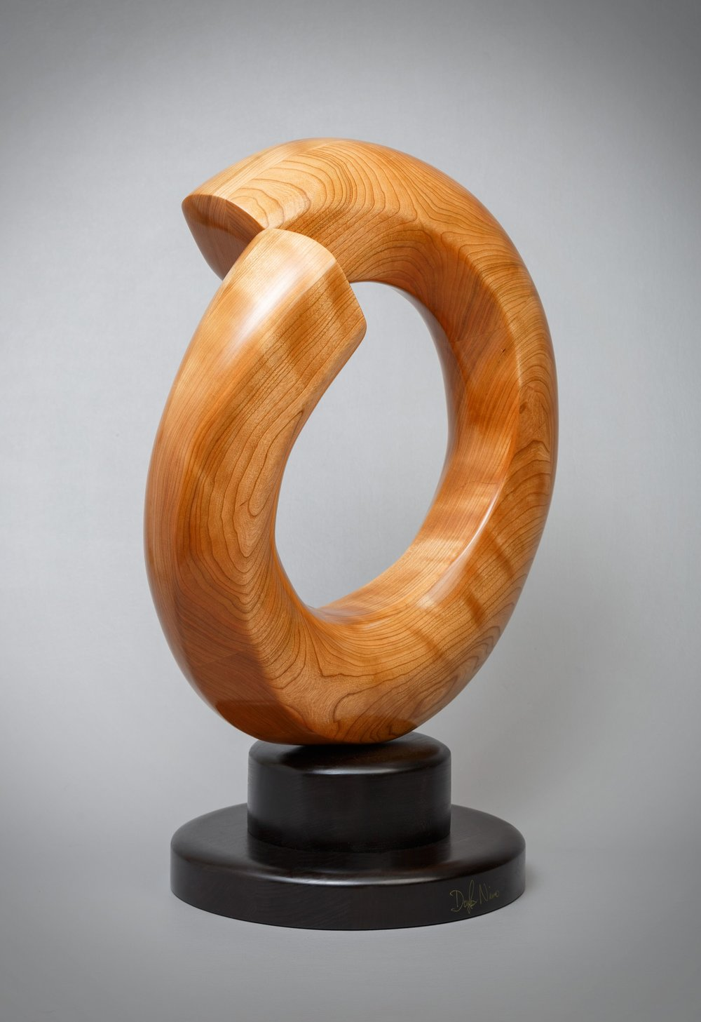"""Mobius><Terminus - 20"""" diameter x 8"""" deep. Cherry; finished in tung oil."""