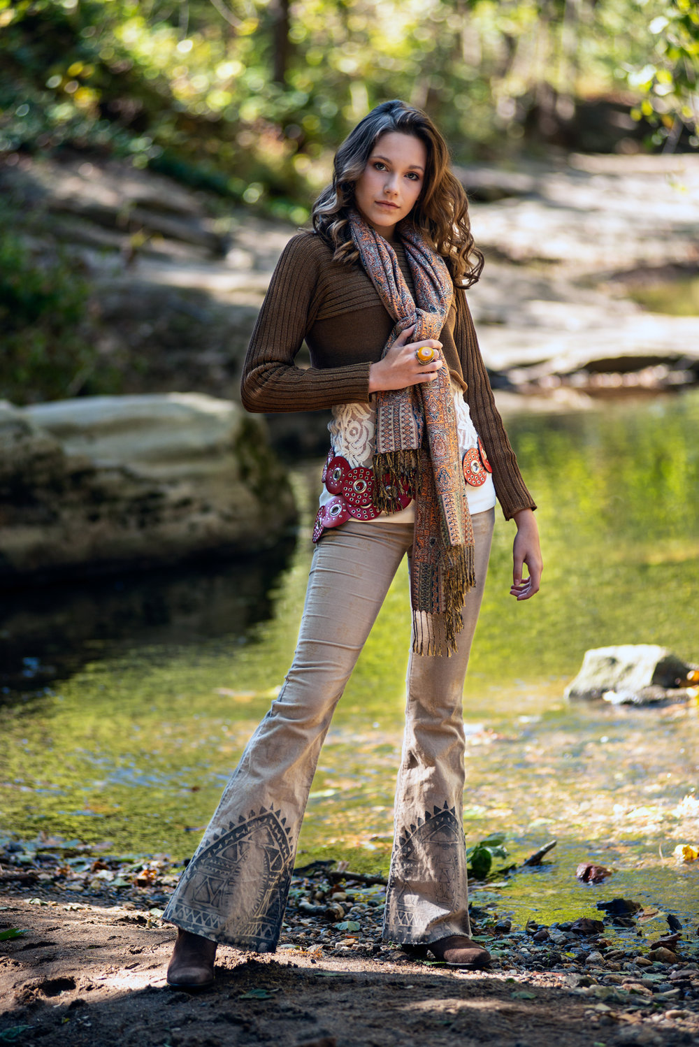 Nancy Lasher modeling a fall look at UNCA Botanical Gardens