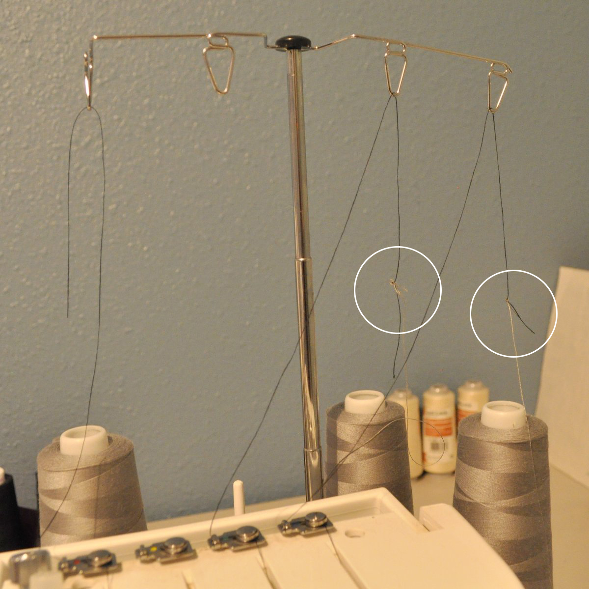 How to change serger thread using the tying off method
