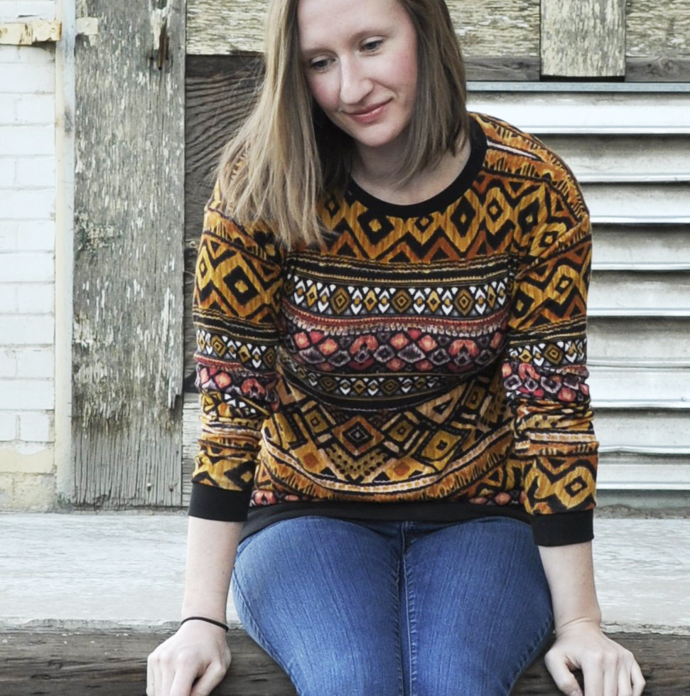 Luxe Sweatshirt in Tribal Sweater Knit by Lauren Dahl