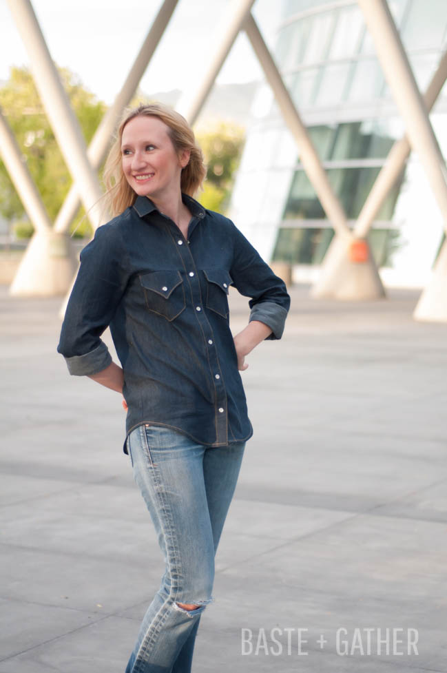 Dark Denim Grainline Archer with Western-Style Pockets