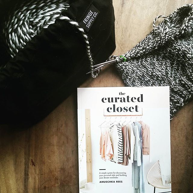 Bedtime can't come soon enough for this tired mama! I tore a muscle in my back getting my double stroller out of the van, and I have the flu. 😵 This new book by @anuschkarees (just released this week!!) and a little mindless hat knitting should do the trick. #thecuratedcloset #knitting #knittersofinstagram #handmadewardrobe