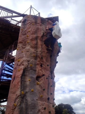Climbing wall with cello...