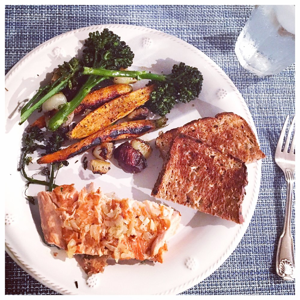 ON THE PLATE:  Sweet & Simple Roasted Veggies | pan seared salmon | toasted Dave's Killer Good Seed Bread