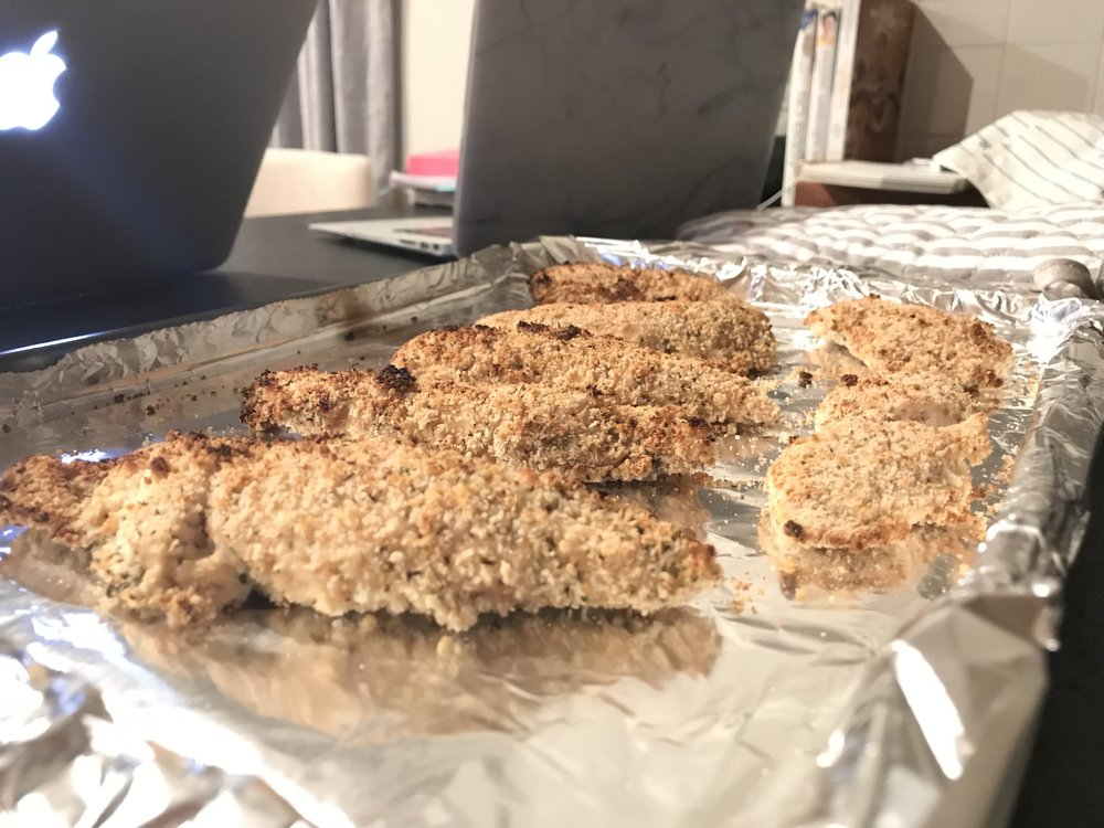 7.  After done baking, remove chicken tenders from oven, turn broiler to high and place chicken tenders back under broiler for about 2 minutes to brown the tops.