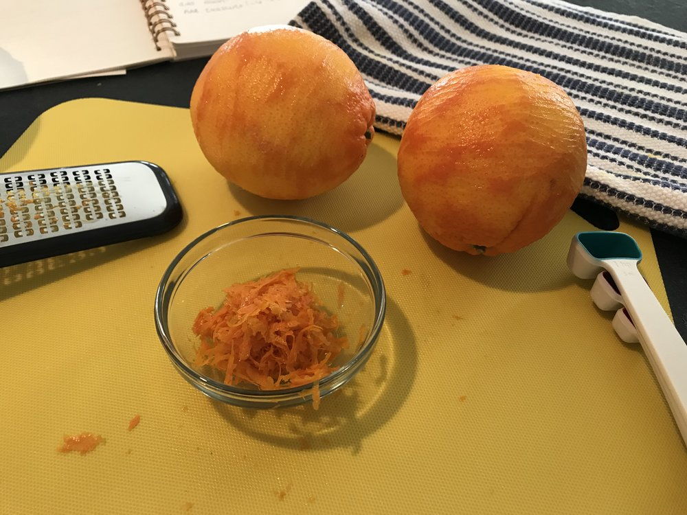 1.  Use the zest of 2 large oranges (this came out to about 2 tablespoons)