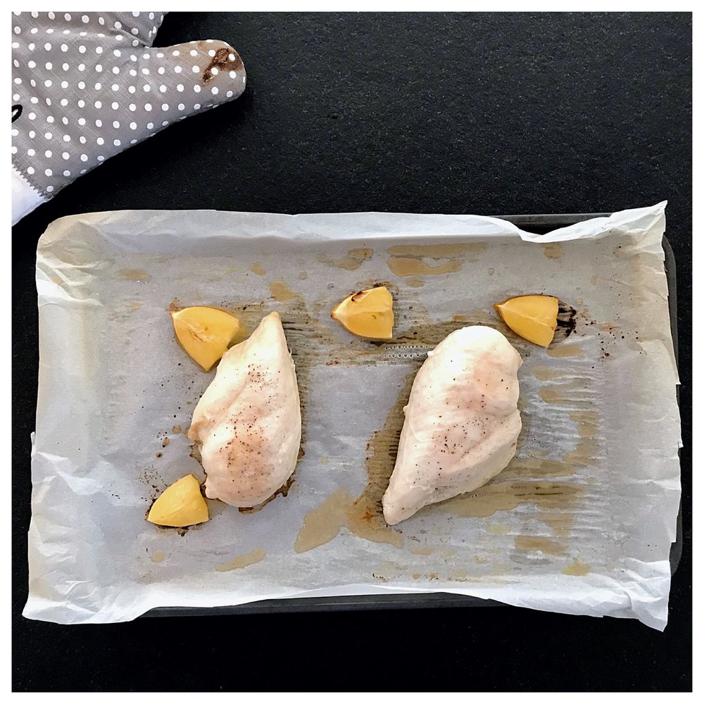 8. Bake the chicken in the preheated oven for 30 to 35 minutes.