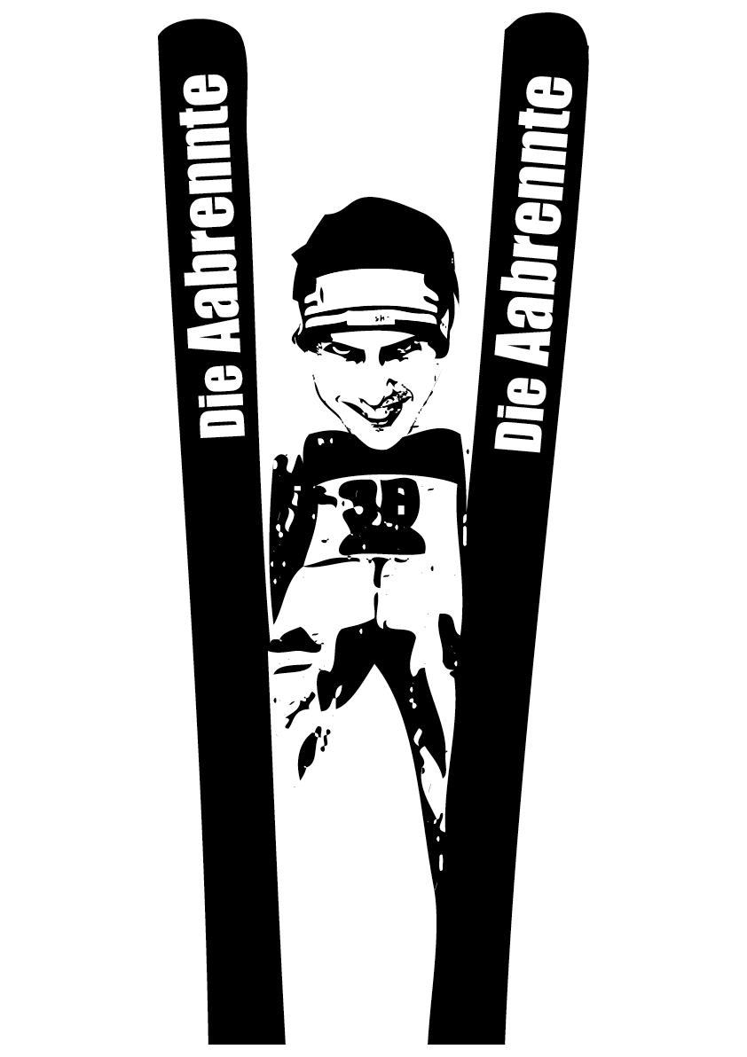 D Konkurränz macht langi Häls dr Simi Ammann fliegt drvoo.   In Öschtryych wird me kritisch und het d Bindig unter d Lupe gnoo.   Im Labor wird den schyyns dr Grund für si unbrämmst Erfolg entdeckt,   Är haig in jede Ski e Pedal vo Toyota gsteckt.