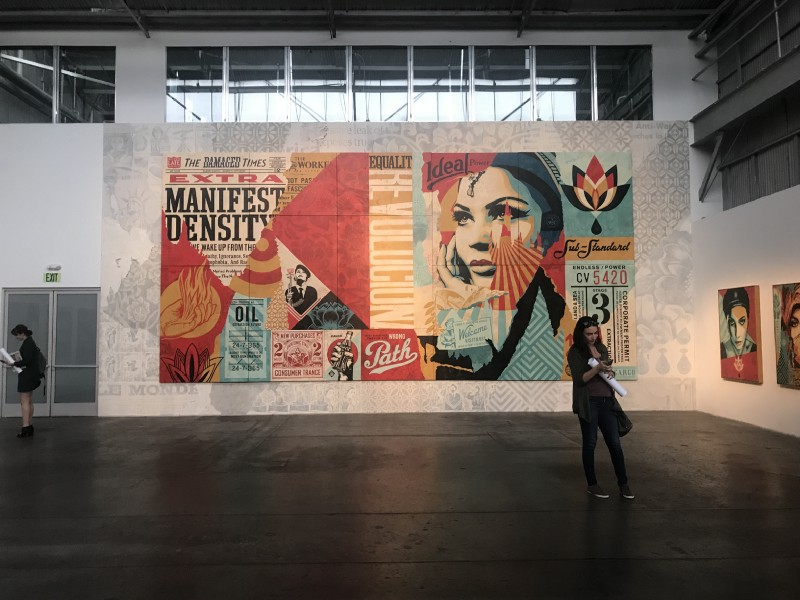 The capture of Damaged and women mid-Instagram, I assume. Photo by me. Art by Shepard Fairey