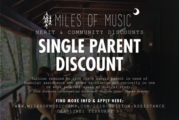 A huge thank you to Brenda for sponsoring our Single Parent Discount. There's still time to apply to our Community & Merit Discounts! Please apply via: http://www.milesofmusiccamp.com/2018-tuition-assistance/