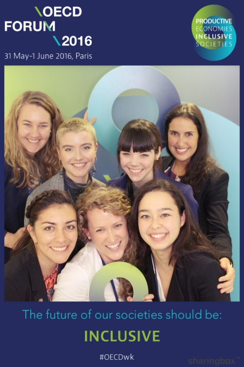 L - R Back: Elizabeth Dymock (Global Voices Program Manager), Kaitlyn Krahe (Victoria University), Emily Lighezzolo (QUT Business School), Amy Coetzee (Global Voices CEO). L - R (Front): Vivian Rivera (University of South Australia), Laura Wood (Monash University), Sabina Lim (University of Melbourne Faculty of Business and Economics).