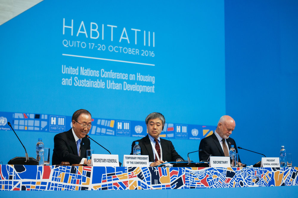 UN Secretary-General Ban Ki-moon speaking at the Habitat III Opening Plenary