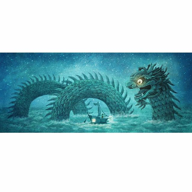 Today is national sea serpent day apparently. I didn't know such a day existed. Here's an unused spread from Ocean Meets Sky. #oceanmeetssky #thefanbrothers